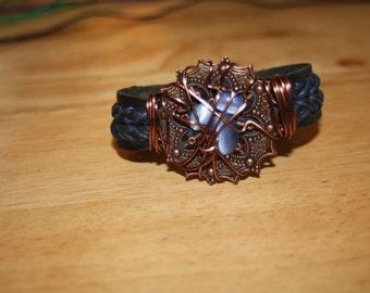 Blue Copper Wire Wrapped Bracelet