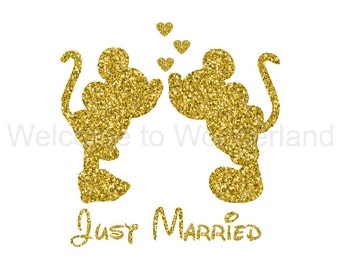 JUST MARRIED Sparkly Iron On Sparkle Glitter Decal in your choice of Color - Adult Womens Sizes