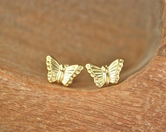 Gold butterfly stud earrings - butterfly wing earrings - insect - butterfly jewelry - cute stud earrings