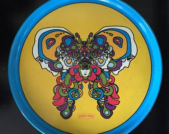 Peter Max Cosmic Butterfly Enameled Tray 1960s