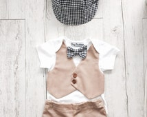 Beige waistcoat vest onesie with navy blue bow-tie formal wedding page boy outfit