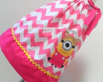 Yellow Girl Pink Chevron Pillowcase Dress