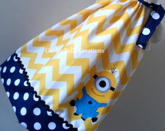 Yellow Guy Chevron & Navy Blue Polka Dot Pillowcase Dress