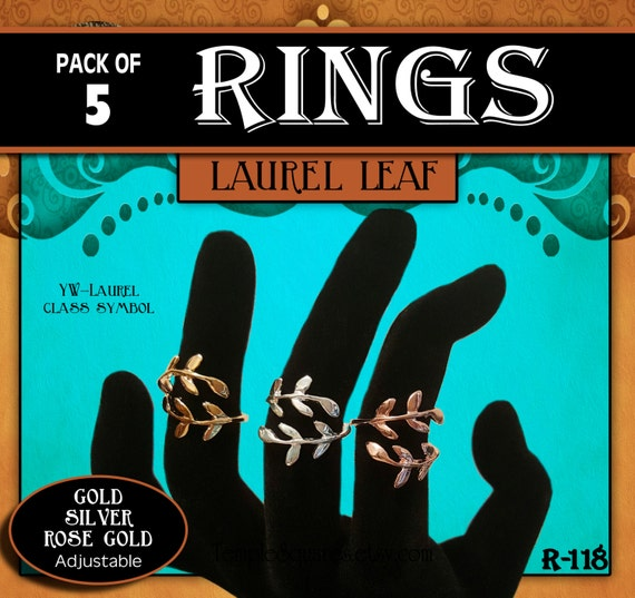 Laurel Class Emblem Symbol Rings - Pack of 5 - Laurel Leaf Wrap Gold, Silver or Rose Gold Plated Adjustable Jewelry, YW Graduation Gifts