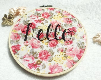 Hello Floral Embroidery Hoop Art