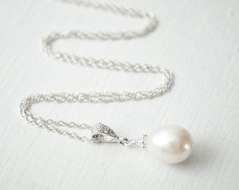 Freshwater Pearl Pendant, Bridal Pendant Necklace, Sterling Silver Chain