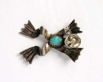 Vintage LSP Sterling Silver Frog Brooch - Navajo Turquoise Jewelry - Native American Pin - Navajo Silver Reptile Pin - Turquoise Cabochon