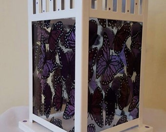 Purple Butterfly Stained Glass Candle Lantern