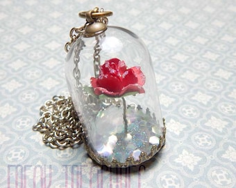 Beauty and the Beast, glass globe Necklace once upon a time, terrarium jewelry, Belle's rose, enchanted rose