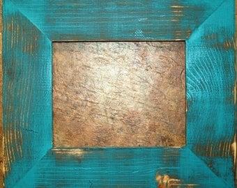 "F002 3-1/2"" Aqua Distressed Picture Frame"