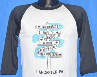 80s Lancaster PA Arrow Sign White Black Vintage 3/4 Sleeve Jersey Ringer t-shirt Small
