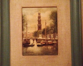 Anton Rutgers Dutch Oil Painting On Linen City of Amstersdam Boats