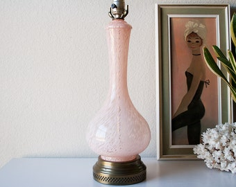 Vintage pink glass table lamp mid century swirled glass genie bottle lighting Murano style retro light