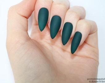Stiletto nails, Matte dark green stiletto nails, Fake nails, Press on nails, False nails, Stiletto false nails, Press on stiletto nails