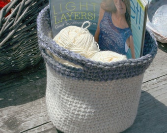 Basket and or Tote.  This adorable hand chrocheted basket is made with tones of white and gray.  (Items in tote not included)