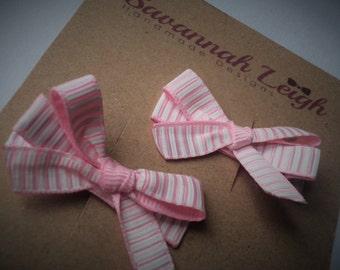 pink white striped bow grosgrain girls cute bow hair clips