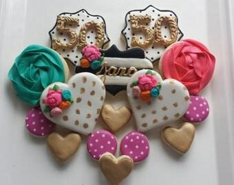 Kate Spade Sugar Cookies, sweet sixteen cookies, 50th birthday cookies, birthday cookies, engagement cookies