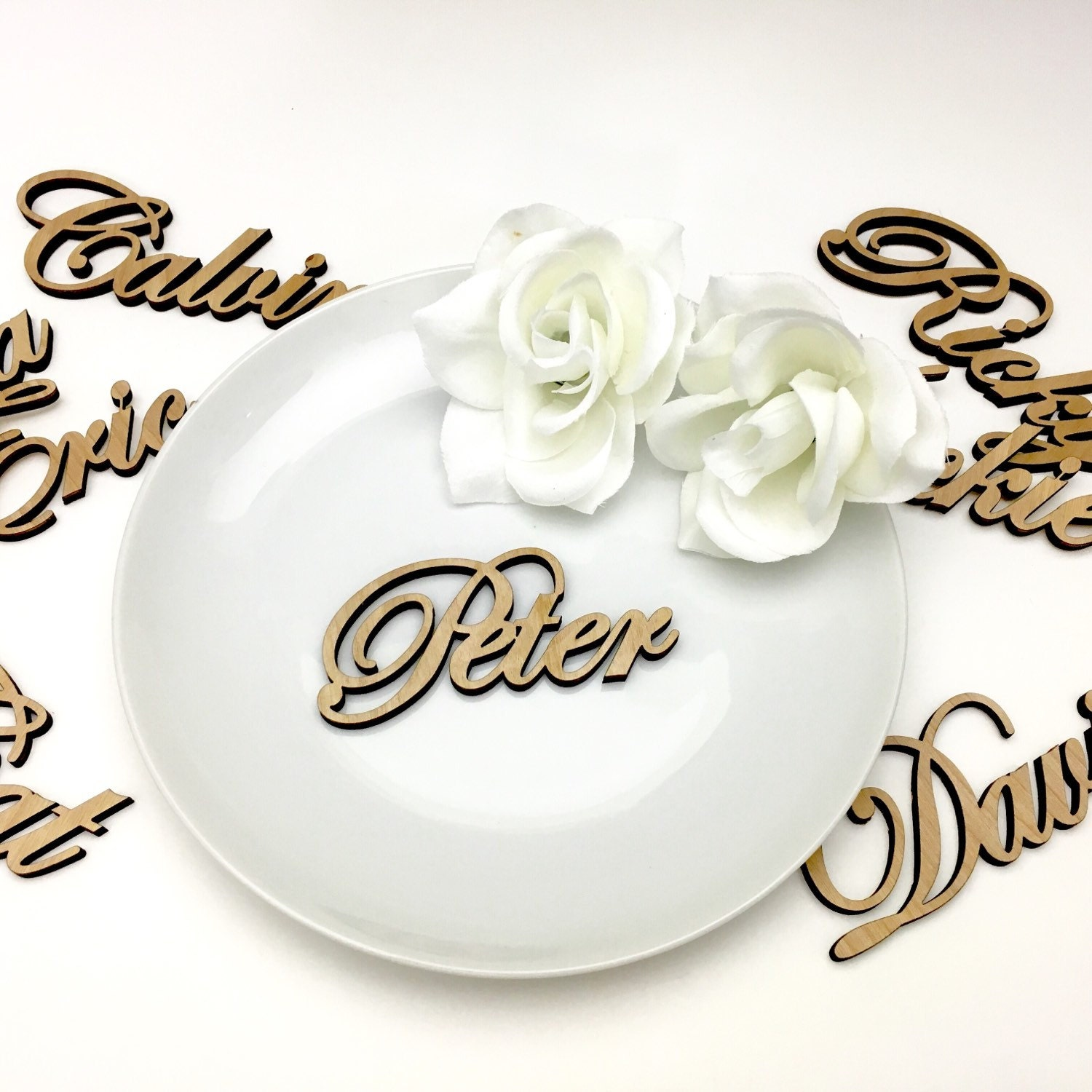 Custom name ornaments - Custom Plate Names Laser Cut Wood Name Place Settings 10 Names For Tables