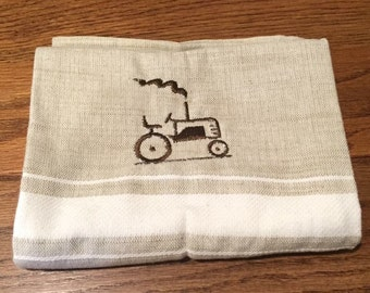 Tan/White Embroidered Tractor Hand Towel