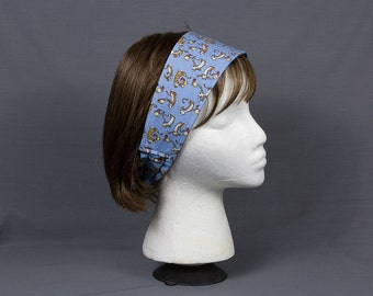 Calvin and Hobbes Head band Dancing to the Music, Light blue printed cotton