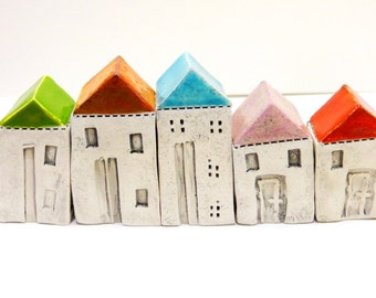 Little Ceramic houses Miniature houses Little rustic houses Ceramic house