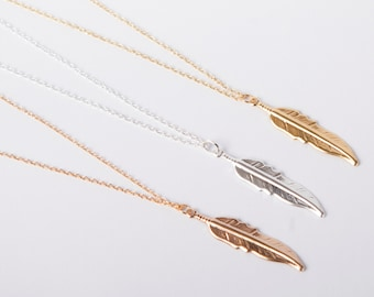 Fine Necklace  Feather Leaf Necklace Choose Your Colour Gold Silver Or Rose Gold Ethno