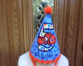 Finding Nemo Birthday Hat - Nemo Birthday Hat - polka dots Nemo