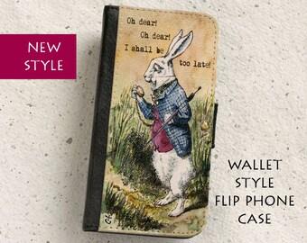 iPhone Case (all models) - White Rabbit - Alice in Wonderland - Vintage illustration - Wallet flip case -  Samsung Galaxy S4,S5,S6,S7