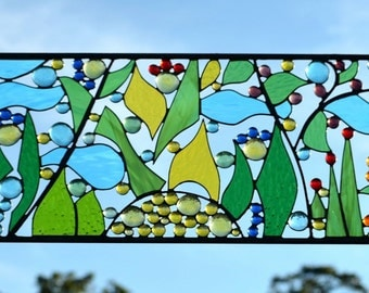 Contemporary Stained Glass Window Designs - Windsong Glass Studio- 'Garden Paradise'