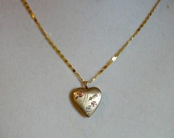 Vintage Gold Filled Mom locket, Gold Heart Locket for MOM