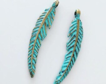 2 feather charms, patina feather charms, boho charms, bohemian, gypsy, USA ships quick