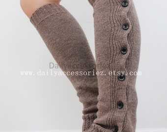 spring sale mocha brown womens leg warmers, knit leg warmers, leg warmers adult, boot socks, for girls, for women