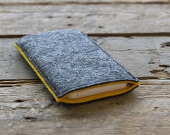 iPhone Sleeve / iPhone Cover / iPhone Case in Mottled Dark Grey and Mustard Yellow 100% Wool Felt
