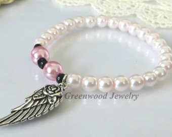 Bracelets-Stretch Bracelet-Chunky Bracelet-Stackable Bracelets-Handcrafted Bracelet-Pink-Guardian Angel-Wings
