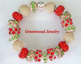 Beautiful!! - Rose Gold - Red and Green ~ European Style Charm Bracelet - Lampwork Glass And Crystal Beads and Charms