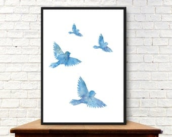Blue Birds of Happiness - Watercolor Style Print - Instant Download and Print - Includes 4 Sizes of Prints