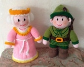 Reserved Listing! Knitted Robin Hood and Maid Marion Dolls