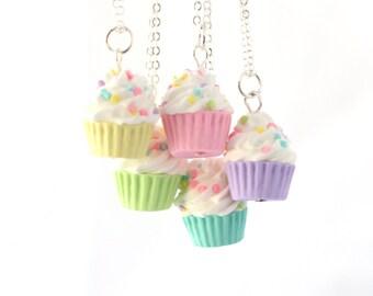 Miniature cupcake necklace, kawaii pastel necklace, polymer clay miniature food necklace, pastel necklace