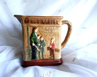 Antique Royal Doulton Dickens Series G Oliver Twist Pitcher - Oliver Asks for More