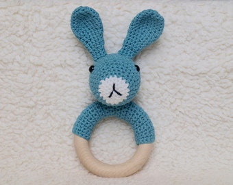 Organic Wooden Teething Ring with crocheted bunny whit safety eyes.