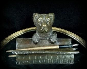 Antique Bronze Pen Tray Dog Desk Valet Set Puppy Pen Holder Office Organizer Caddy Bronze Canine Sculpture