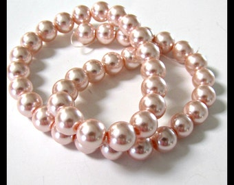 Lt. Pink Pearl Beads, Pink Celestial Pearl Beads , 10 mm Pearls, 16 inch strand, Glass Pearls, Item #613