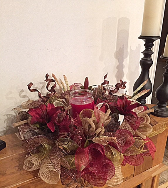 Chocolate lily candle arrangement burgundy burlap