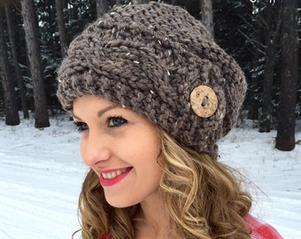 Slouchy Hat Slouch Beanie Button Cable Hand Knit Women's Winter Knitted Gift Trendy Oversized Hat