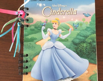 Disney Cinderella - Journal Autograph Book - Upcycled Little Golden Book - Recycled Notebook - Upcycled Journal