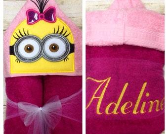 Yellow Follower Minion Girl Hooded Towel/ Minion Girl Birthday/ Minion Gifts/ Minion Costume/ Kids Hooded Towels/ Beach Towel/ Pool Towel