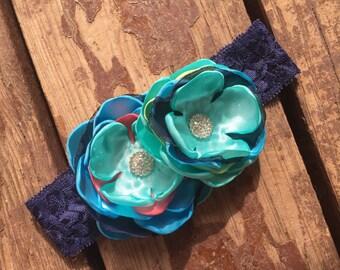 Navy Aqua Blue Headband, Handmade Flower Headband, Matilda Jane Headband