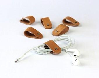 Cable Organizer Set | Cable Gadgets | Gadget tools | Headphones Cable-Organizer | vintage leather [V]