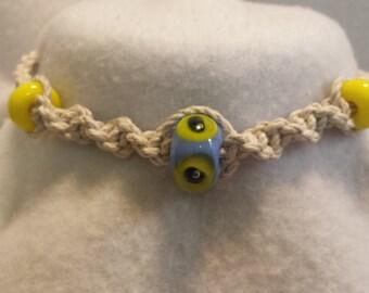 Thick Hemp Necklace Handmade Glass Beads