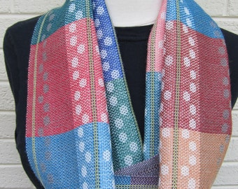 Spring Dots Scarf - Handwoven Multicolor Infinity Scarf in Merino Wool/Chinese Tussah Silk and Tencel